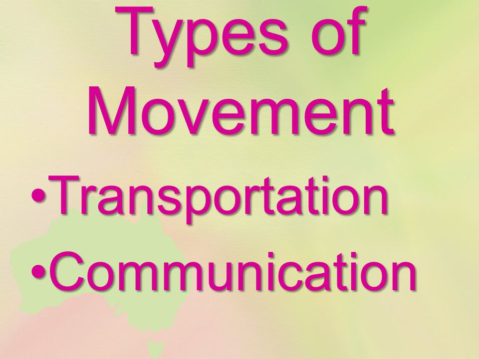 Types of Movement TransportationTransportation CommunicationCommunication