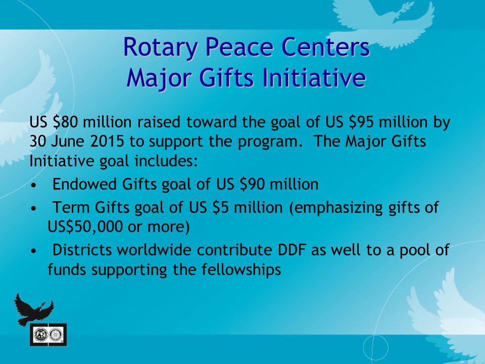 Rotary Peace Centers Major Gifts Initiative US $80 million raised toward the goal of US $95 million by 30 June 2015 to support the program.