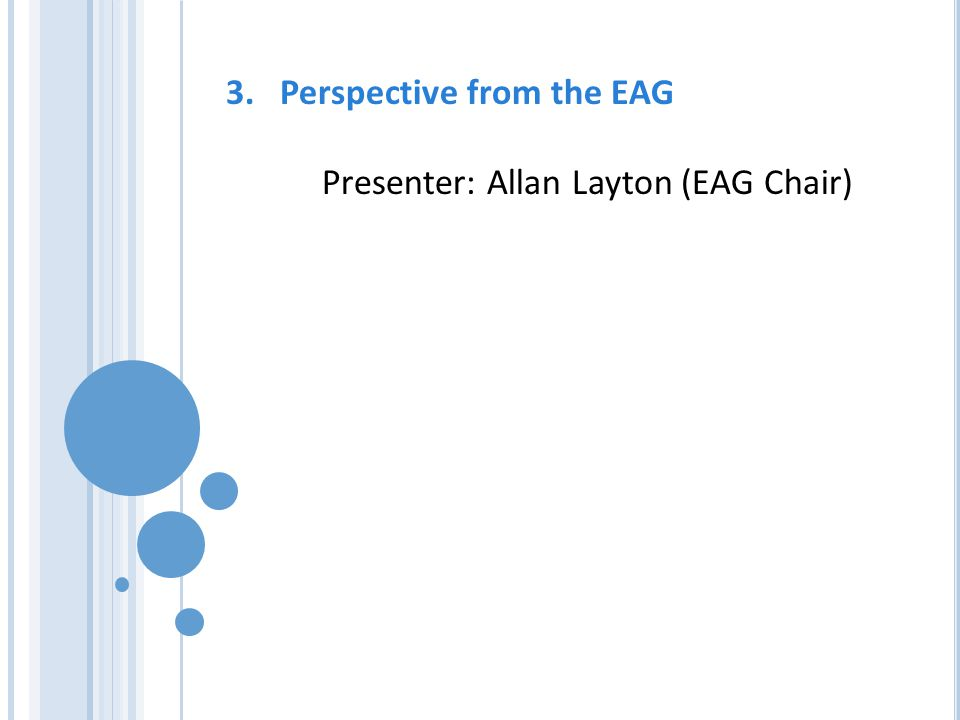 3.Perspective from the EAG Presenter: Allan Layton (EAG Chair)