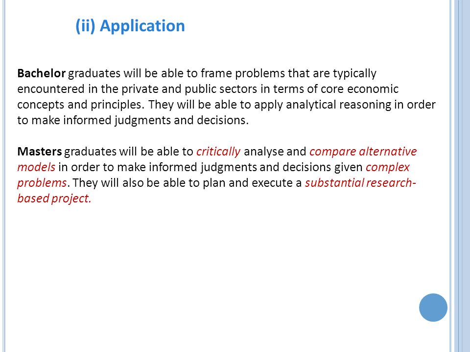 (ii) Application Bachelor graduates will be able to frame problems that are typically encountered in the private and public sectors in terms of core economic concepts and principles.