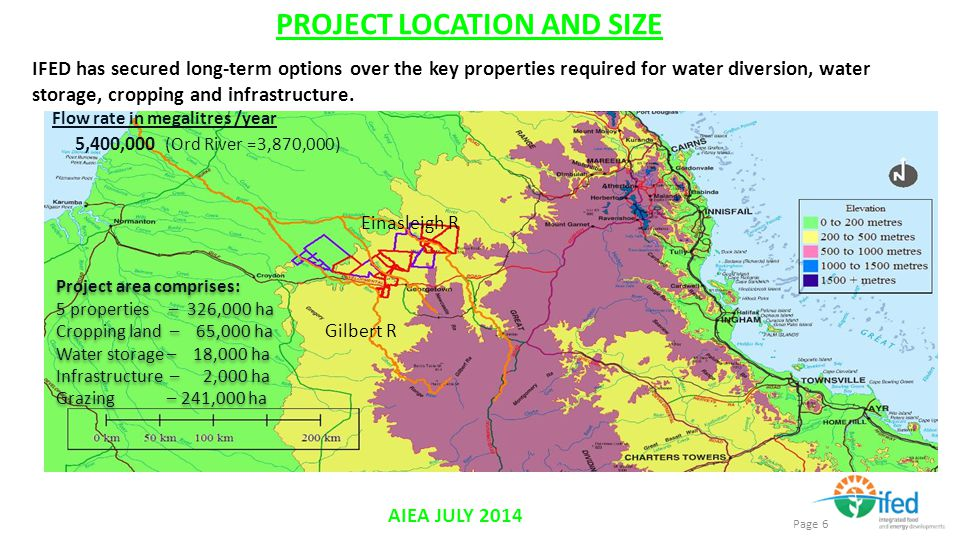IFED has secured long-term options over the key properties required for water diversion, water storage, cropping and infrastructure.
