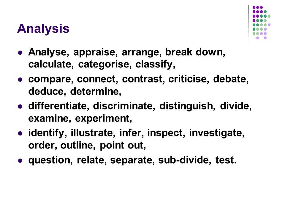 Analysis Analyse, appraise, arrange, break down, calculate, categorise, classify, compare, connect, contrast, criticise, debate, deduce, determine, di