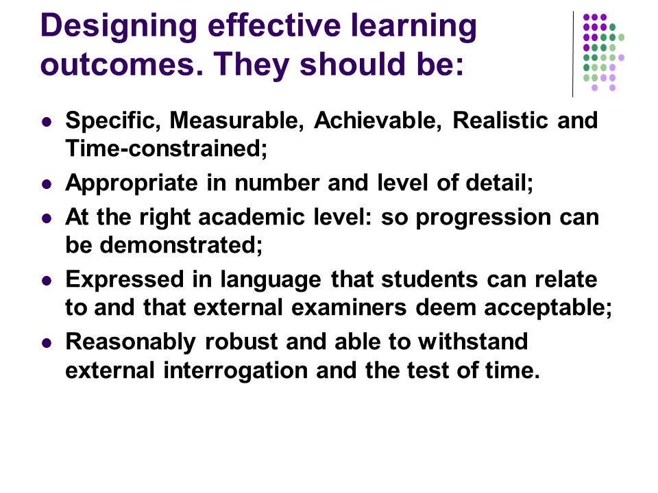 Reviewing learning outcomes Are assignments constructively aligned with learning outcomes.