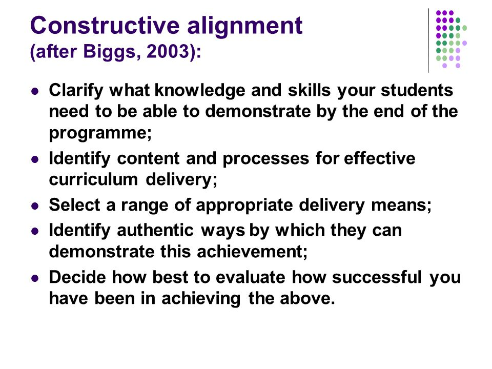 Constructive alignment (after Biggs, 2003): Clarify what knowledge and skills your students need to be able to demonstrate by the end of the programme; Identify content and processes for effective curriculum delivery; Select a range of appropriate delivery means; Identify authentic ways by which they can demonstrate this achievement; Decide how best to evaluate how successful you have been in achieving the above.