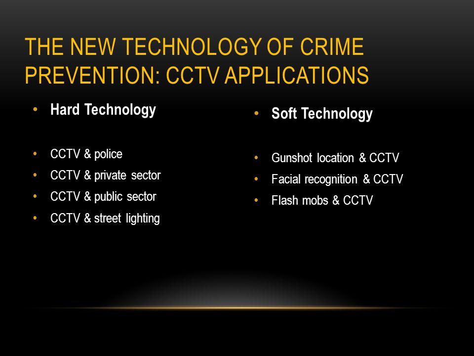 Hard Technology CCTV & police CCTV & private sector CCTV & public sector CCTV & street lighting Soft Technology Gunshot location & CCTV Facial recogni
