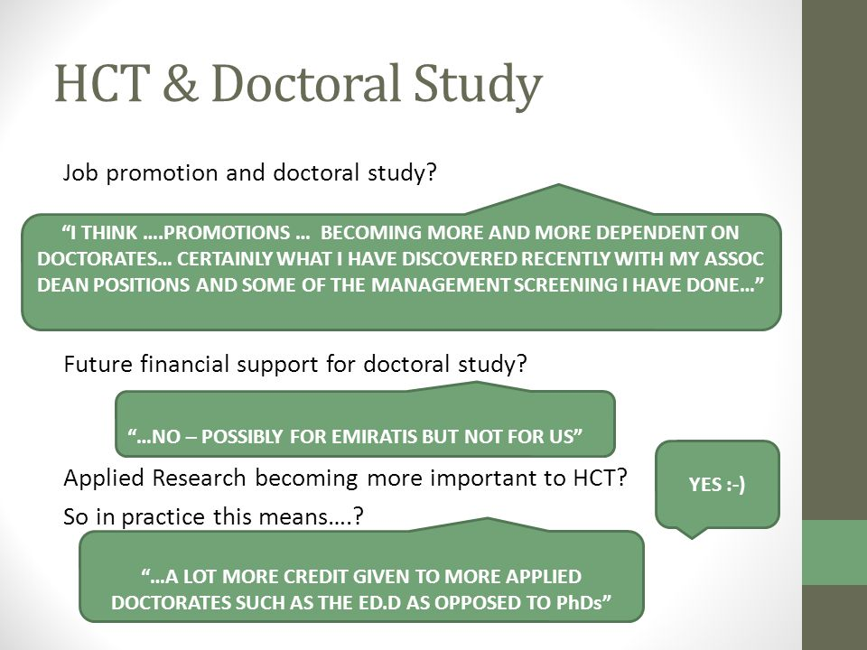 HCT & Doctoral Study Job promotion and doctoral study.