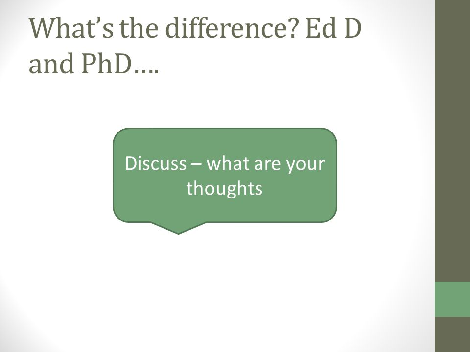 What's the difference Ed D and PhD…. Discuss – what are your thoughts