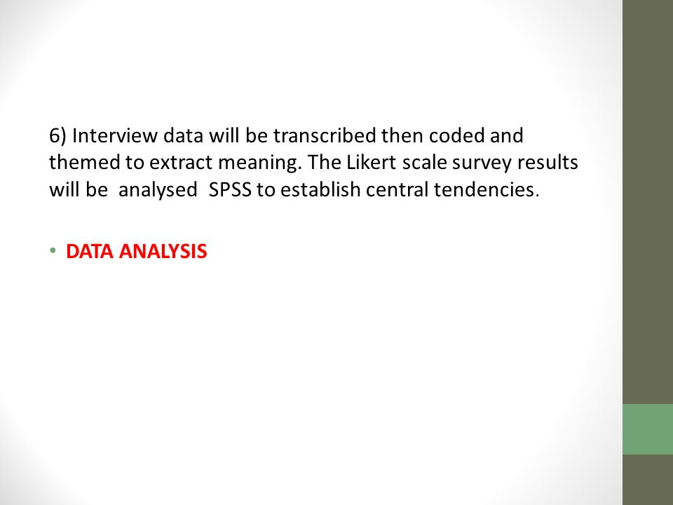6) Interview data will be transcribed then coded and themed to extract meaning.