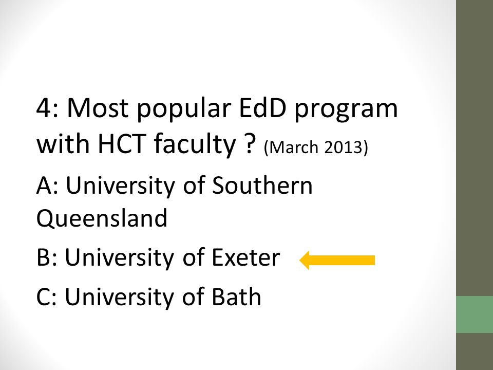 4: Most popular EdD program with HCT faculty .
