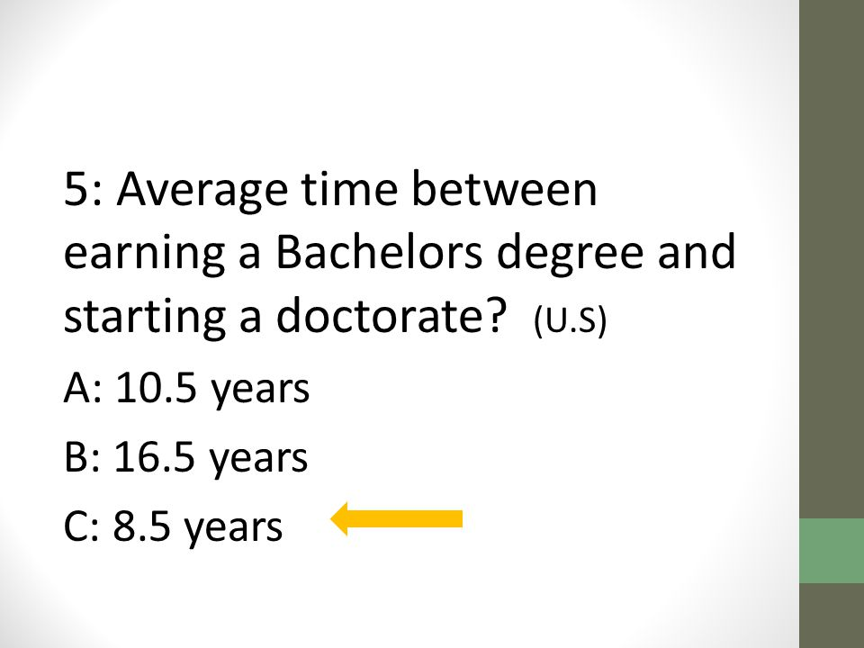 5: Average time between earning a Bachelors degree and starting a doctorate.