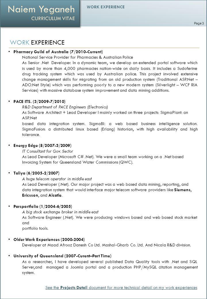 WORK EXPERIENCE Pharmacy Guild of Australia (7/2010-Current) National Service Provider for Pharmacies & Australian Police As Senior.Net Developer.