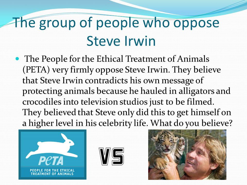 The group of people who oppose Steve Irwin The People for the Ethical Treatment of Animals (PETA) very firmly oppose Steve Irwin. They believe that St