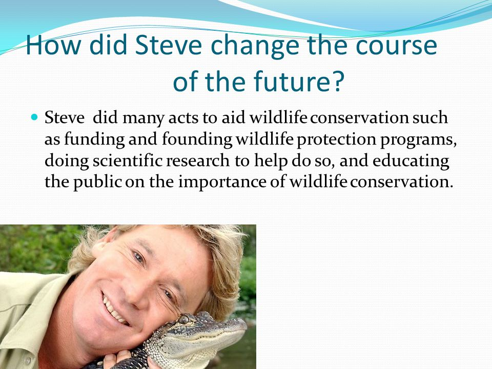 How did Steve change the course of the future? Steve did many acts to aid wildlife conservation such as funding and founding wildlife protection progr