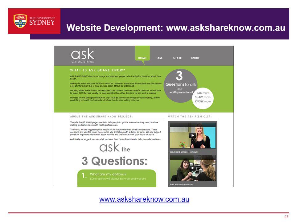Website Development: www.askshareknow.com.au 27 www.askshareknow.com.au