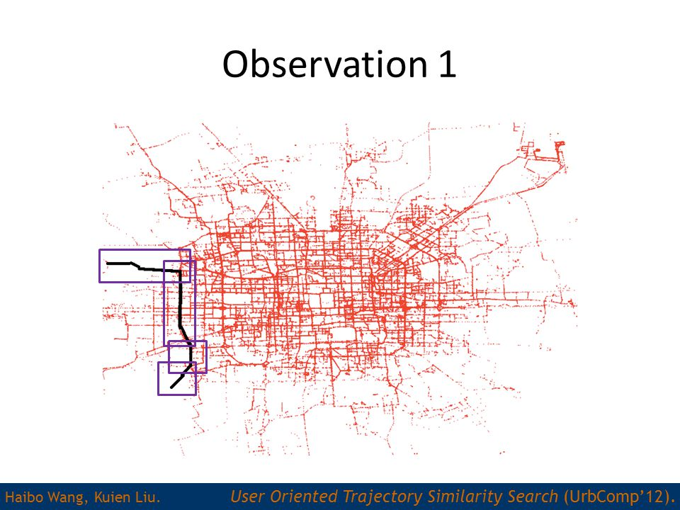 Observation 1 Haibo Wang, Kuien Liu. User Oriented Trajectory Similarity Search (UrbComp'12).