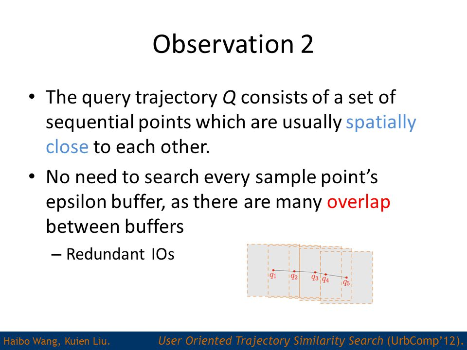 Observation 2 The query trajectory Q consists of a set of sequential points which are usually spatially close to each other.