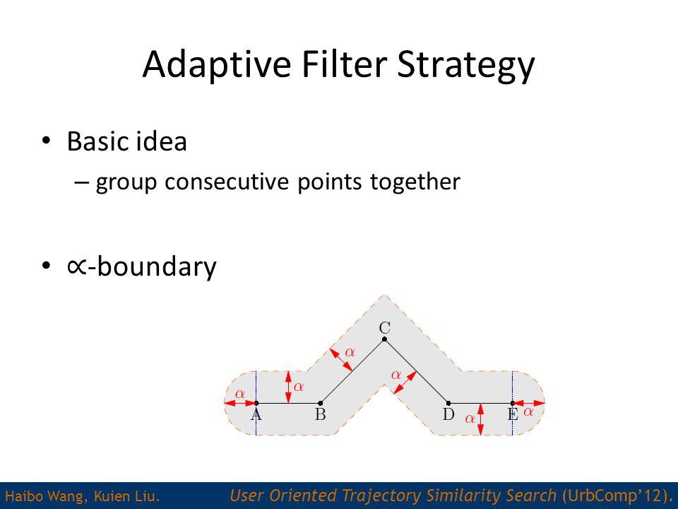 Adaptive Filter Strategy Haibo Wang, Kuien Liu.