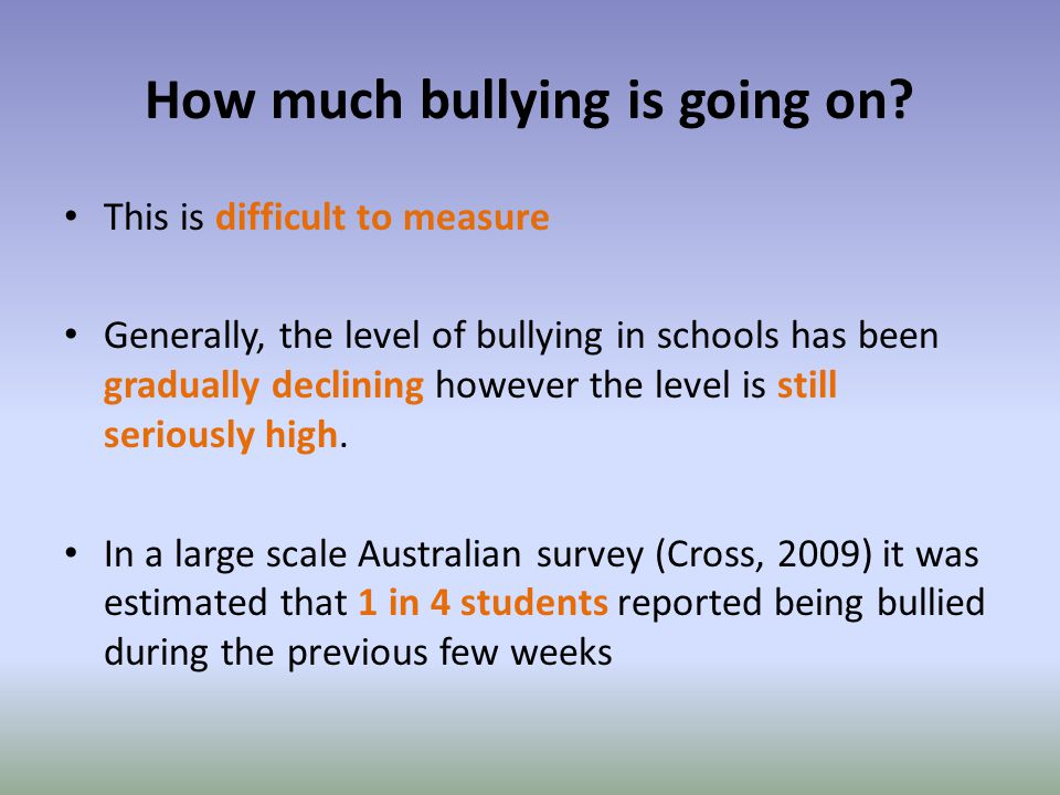 How much bullying is going on.