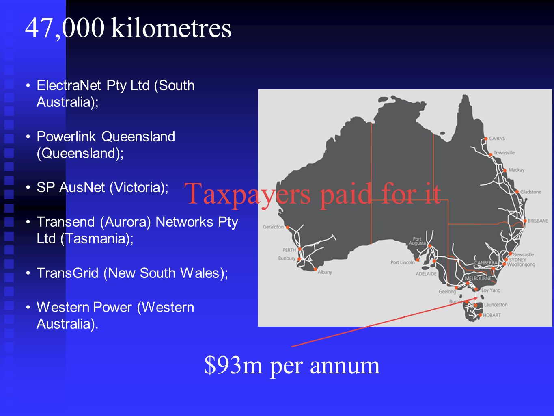 47,000 kilometres ElectraNet Pty Ltd (South Australia); Powerlink Queensland (Queensland); SP AusNet (Victoria); Transend (Aurora) Networks Pty Ltd (Tasmania); TransGrid (New South Wales); Western Power (Western Australia).