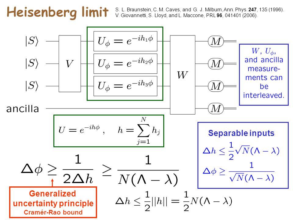 Heisenberg limit S. L. Braunstein, C. M. Caves, and G. J. Milburn, Ann. Phys. 247, 135 (1996). V. Giovannetti, S. Lloyd, and L. Maccone, PRL 96, 04140