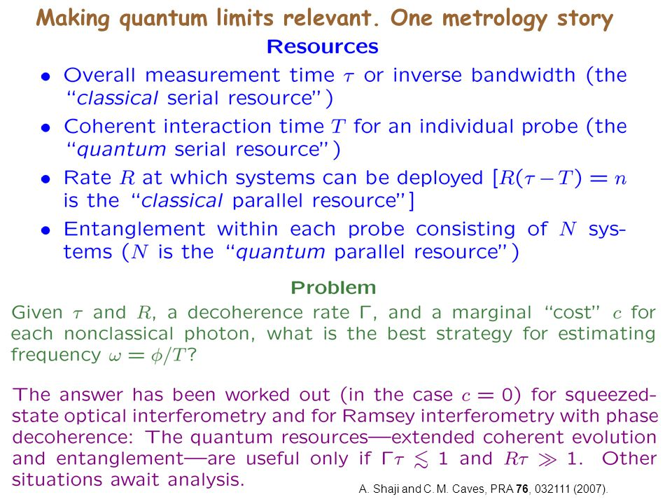 Making quantum limits relevant. One metrology story A.
