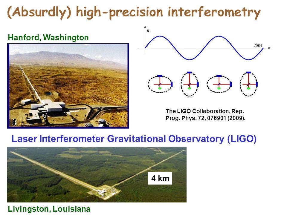(Absurdly) high-precision interferometry Laser Interferometer Gravitational Observatory (LIGO) Hanford, Washington Livingston, Louisiana 4 km The LIGO