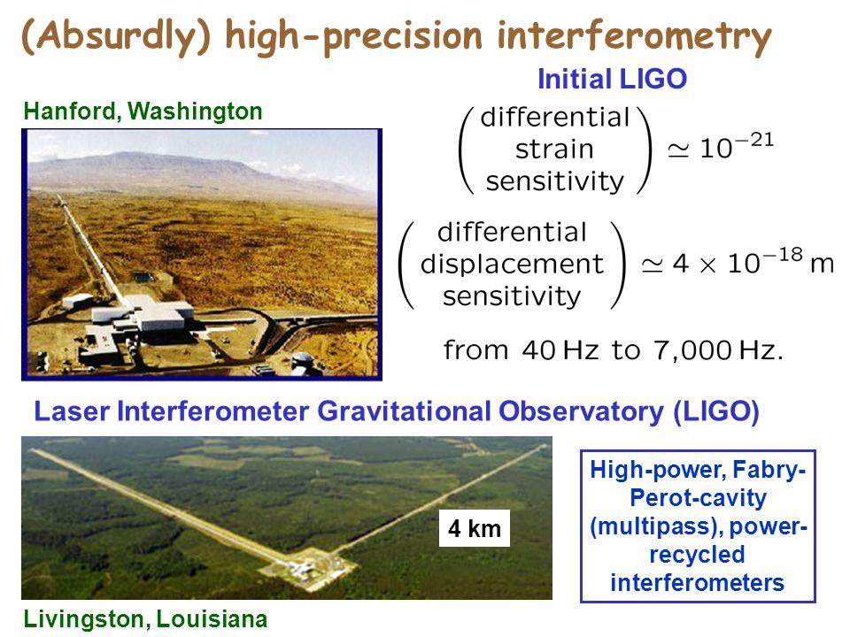 Laser Interferometer Gravitational Observatory (LIGO) Hanford, Washington Livingston, Louisiana 4 km Initial LIGO High-power, Fabry- Perot-cavity (multipass), power- recycled interferometers (Absurdly) high-precision interferometry