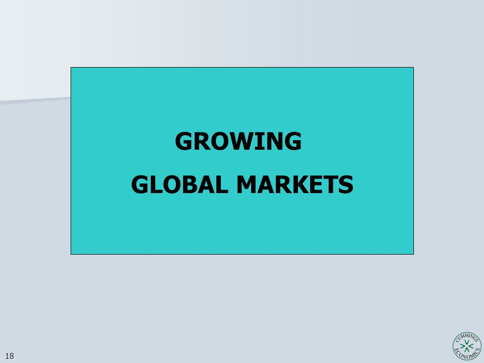 18 GROWING GLOBAL MARKETS