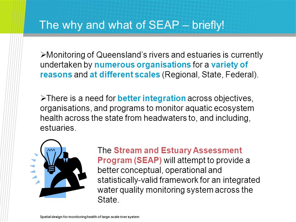 Spatial design for monitoring health of large-scale river system The why and what of SEAP – briefly.