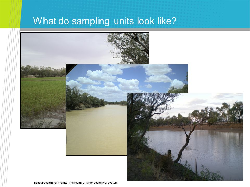 Spatial design for monitoring health of large-scale river system What do sampling units look like?