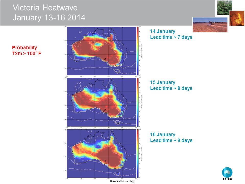 Victoria Heatwave January 13-16 2014 16 January Lead time ~ 9 days 15 January Lead time ~ 8 days 14 January Lead time ~ 7 days Probability T2m > 100 o