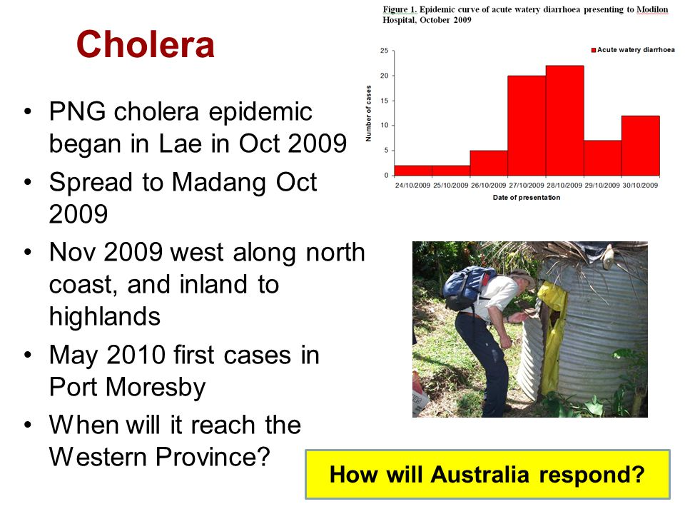 Cholera PNG cholera epidemic began in Lae in Oct 2009 Spread to Madang Oct 2009 Nov 2009 west along north coast, and inland to highlands May 2010 first cases in Port Moresby When will it reach the Western Province.