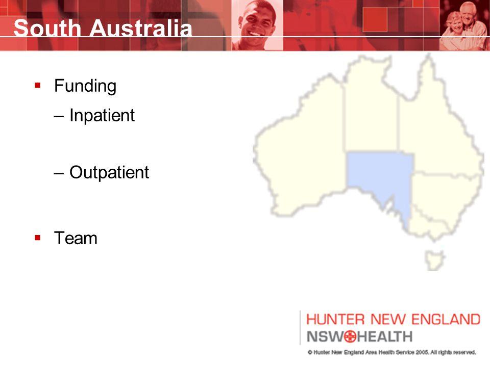 South Australia  Funding –Inpatient –Outpatient  Team