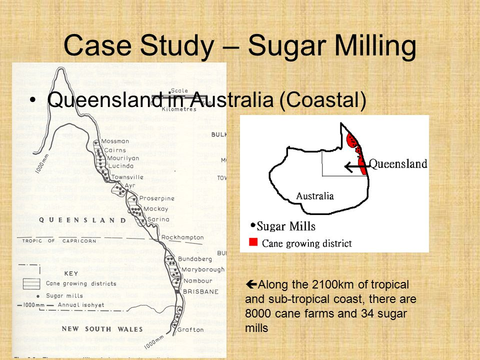 Case Study – Sugar Milling Queensland in Australia (Coastal)  Along the 2100km of tropical and sub-tropical coast, there are 8000 cane farms and 34 sugar mills