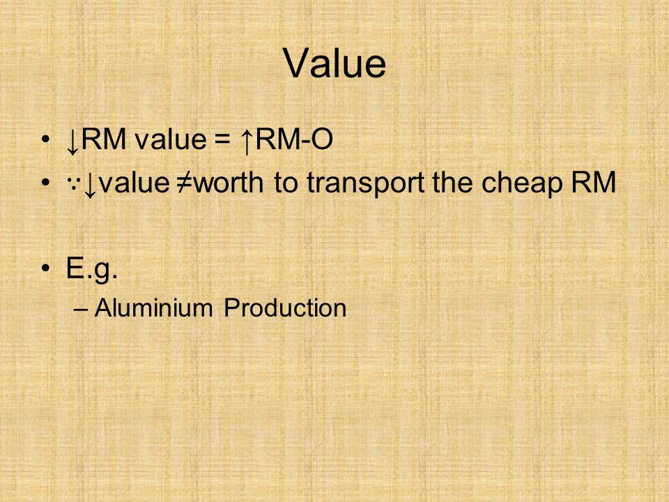 Value ↓RM value = ↑RM-O ∵ ↓value ≠worth to transport the cheap RM E.g. –Aluminium Production