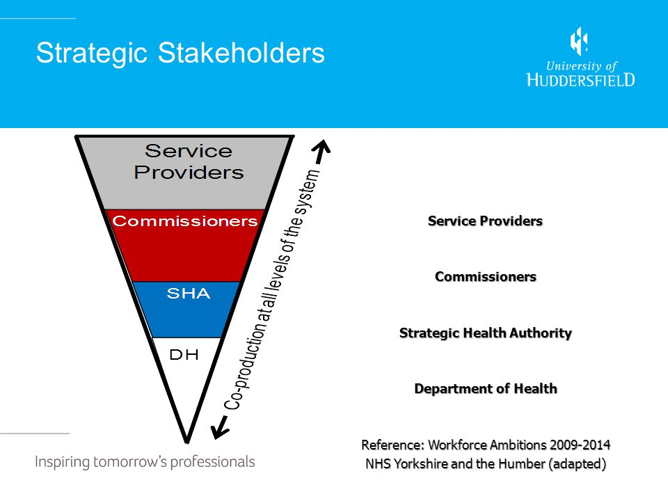 Strategic Stakeholders Service Providers Commissioners Strategic Health Authority Department of Health Reference: Workforce Ambitions 2009-2014 NHS Yorkshire and the Humber (adapted)