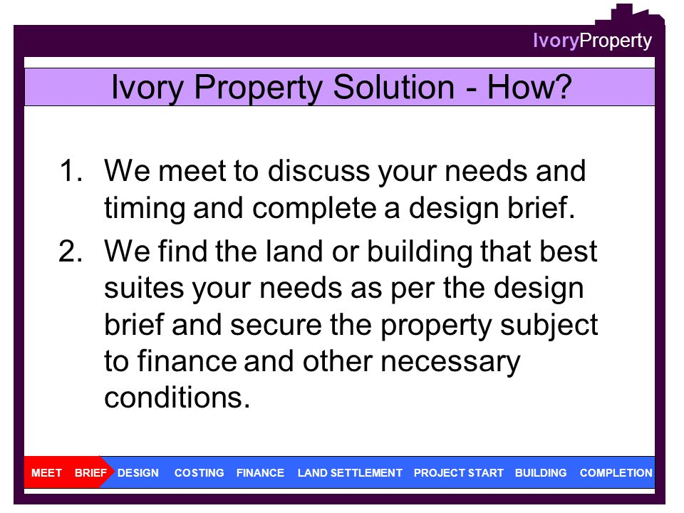 IvoryProperty 1.We meet to discuss your needs and timing and complete a design brief. 2.We find the land or building that best suites your needs as pe