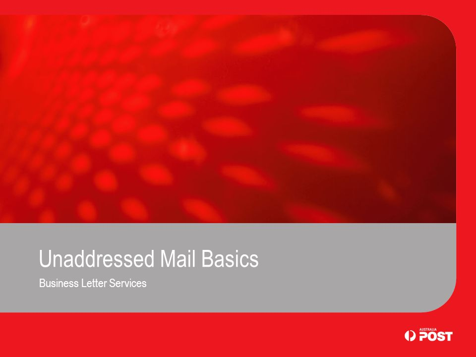 Unaddressed Mail Basics Business Letter Services