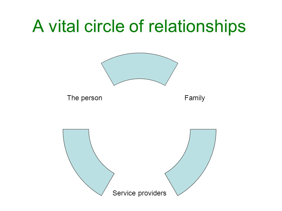 A vital circle of relationships Family Service providers The person