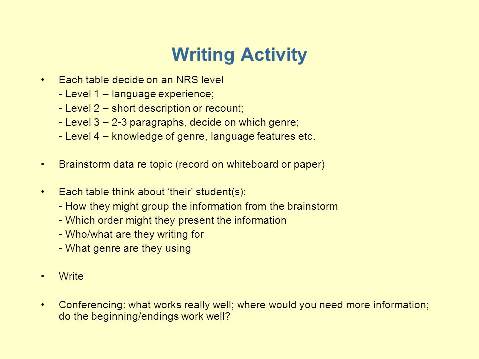 Writing Activity Each table decide on an NRS level - Level 1 – language experience; - Level 2 – short description or recount; - Level 3 – 2-3 paragraphs, decide on which genre; - Level 4 – knowledge of genre, language features etc.
