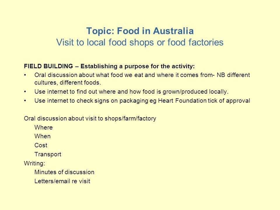Topic: Food in Australia Visit to local food shops or food factories FIELD BUILDING – Establishing a purpose for the activity: Oral discussion about what food we eat and where it comes from- NB different cultures, different foods.