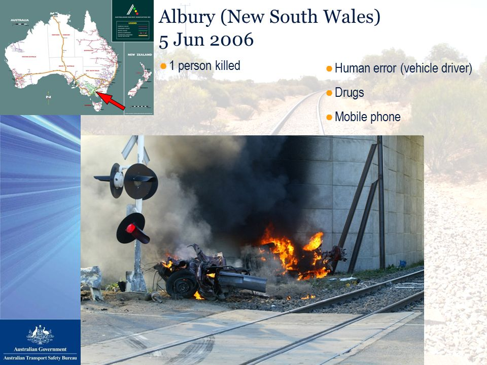 Albury (New South Wales) 5 Jun 2006 ●Human error (vehicle driver) ●Drugs ●Mobile phone ●1 person killed