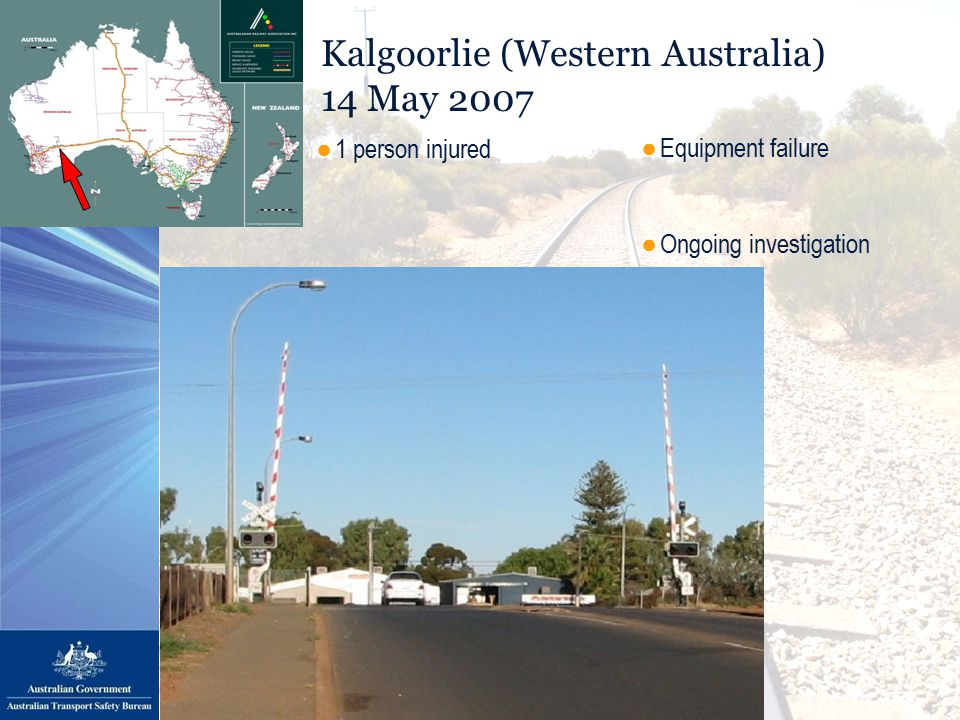 Kalgoorlie (Western Australia) 14 May 2007 ●Equipment failure ●Ongoing investigation ●1 person injured