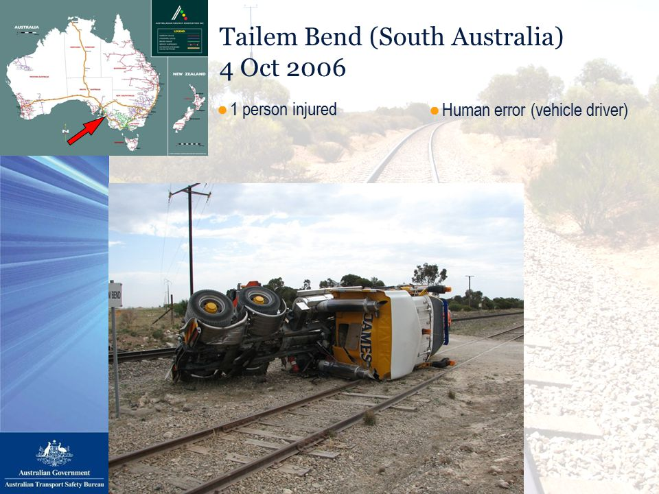 Tailem Bend (South Australia) 4 Oct 2006 ●Human error (vehicle driver) ●1 person injured