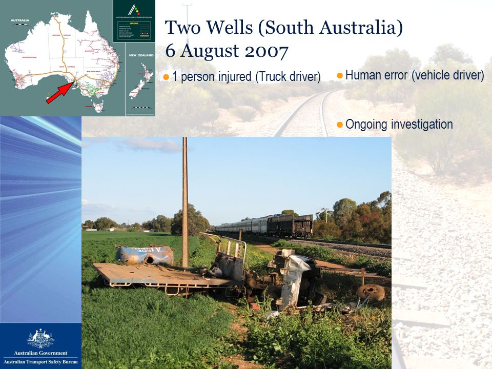 Two Wells (South Australia) 6 August 2007 ●Human error (vehicle driver) ●Ongoing investigation ●1 person injured (Truck driver)