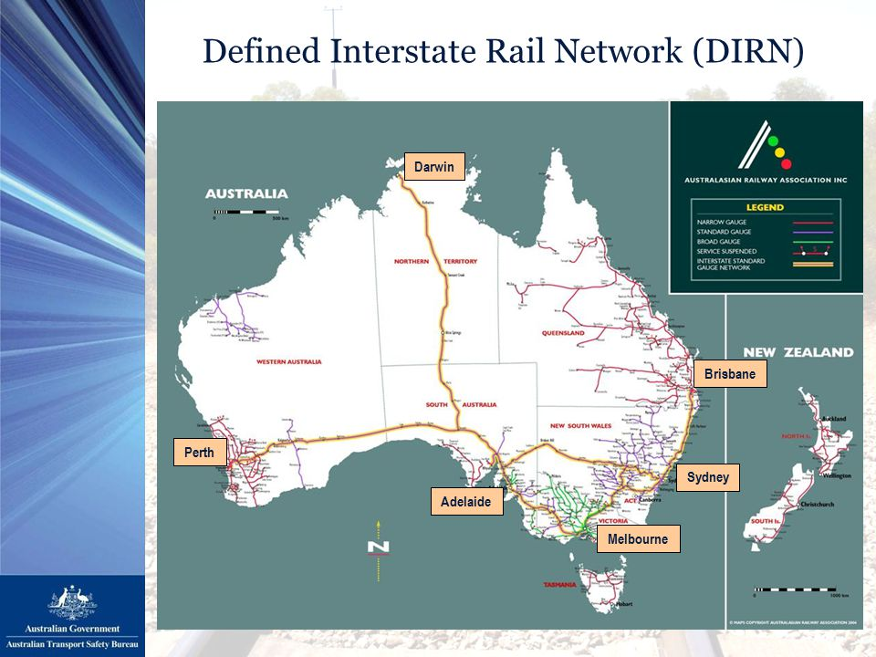 Defined Interstate Rail Network (DIRN) Brisbane Sydney Melbourne Adelaide Darwin Perth