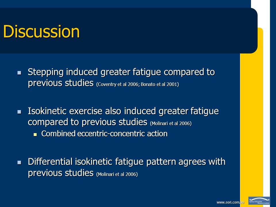 www.sori.com.au Discussion Stepping induced greater fatigue compared to previous studies (Coventry et al 2006; Bonato et al 2001) Stepping induced gre