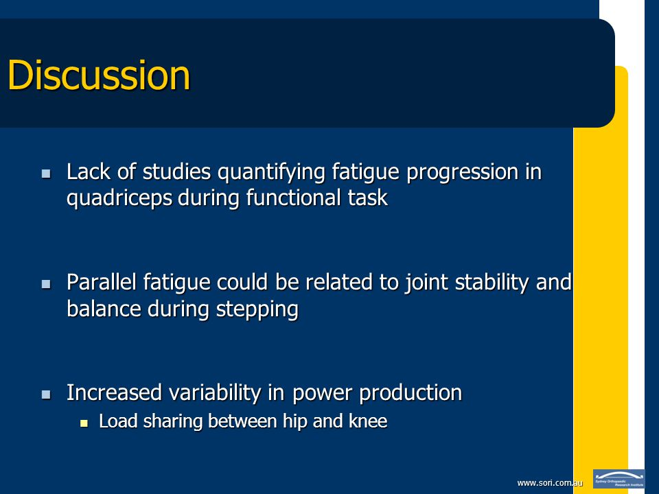 www.sori.com.au Discussion Lack of studies quantifying fatigue progression in quadriceps during functional task Lack of studies quantifying fatigue progression in quadriceps during functional task Parallel fatigue could be related to joint stability and balance during stepping Parallel fatigue could be related to joint stability and balance during stepping Increased variability in power production Increased variability in power production Load sharing between hip and knee Load sharing between hip and knee
