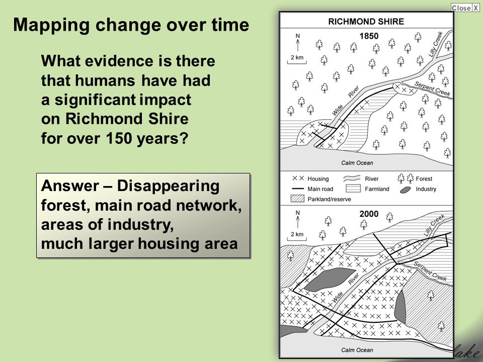Mapping change over time What evidence is there that humans have had a significant impact on Richmond Shire for over 150 years.