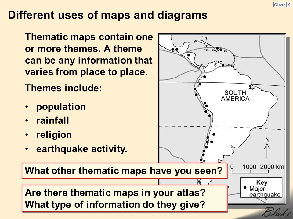Different uses of maps and diagrams Thematic maps contain one or more themes.